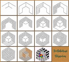 Op Art - Using isometric paper - printable - Part 6: Dice - FruBilledkunst