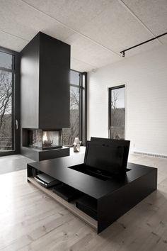 ♂ minimalist masculine modern interior fireplace