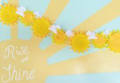 Project Nursery - Sunshine Garland from The Lil Felt Shop on Etsy Feather Garland, Fabric Garland, Felt Garland, Floral Garland, Diy Garland, Flower Garlands, Flower Nursery, Baby Nursery Decor, Project Nursery