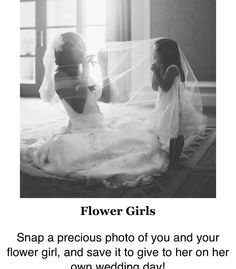 Sentimental wedding ideas: Snap a precious photo of you and your flower girl, and save it to give to her on her own wedding day! I want to do this with my son on my wedding day! Wedding Pics, Wedding Bells, Wedding Engagement, Trendy Wedding, Wedding Vintage, Wedding With Kids, Vintage Weddings, Wedding Dresses, Before Wedding Pictures