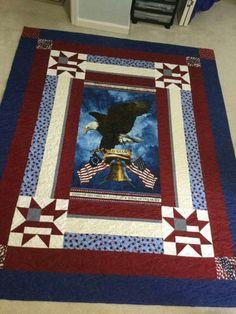 Panel Quilts, Quilt Blocks, Patriotic Quilts, Quilt Of Valor, Die Cutting Fabric Panel Quilts, Batik Quilts, Blue Quilts, Quilting Projects, Quilting Designs, American Flag Quilt, Navy Quilt, Quilt Of Valor, Patriotic Quilts