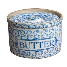 Arthur Wood & Sons Blue & White Spongeware Butter Dish with Lid .