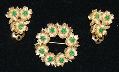 signed ciner brooch and earring set