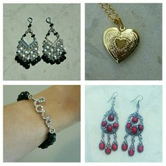 """$120 Value 4 Piece Jewelry Collection!! CHARMING CHARLIE SILVER PRISMATIC, BLACK & WHITE EARRINGS, Retail $32  GOLD PLATED LOCKET, Retail  $48 . Literally hold your loved one(s) close to your heart! . NEVER BEEN WORN, straight off site! . Pendant 1""""Wx1""""H . Adjustable chain 12-20""""  CHARMING CHARLIE BRACELET, Retail $18 . Match this with the black beaded earrings above for a perfect finish!  SILVER & SCARLET CHANDELIER EARRINGS . Elaborate multifaceted features, most notably prisms to ever so…"""