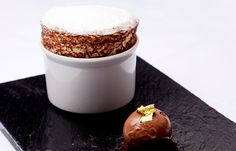 Orange soufflé with chocolate sorbet by Luke Tipping