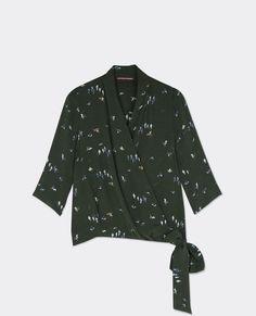 Printed wrapover blouse Birdy hunter green Bigcoeur