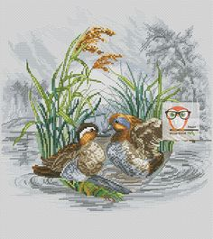 This vintage cross stitch pattern has a great combination of bright colors in front and all shades of grey on the back side. The bird embroidery pattern with stylish tangerines will add a great touch to your interior. The cross stitching will be easy and smooth with our pdf pattern. #vintagestyle #retro #diyhomedecor #duck #crossstitch #hunting #crossstitching