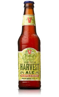 """Harvest Ale """"Powerful aromas of citrus, hop resin and tropical fruit precede sweet, juicy hop flavors in this wet-hopped IPA. Caramel malt mingles with tropical fruit providing balance and a pleasant, yet lingering finish."""" Victory Brewing Company, Downington PA (12oz 6.5%) December 2015"""