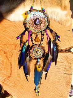 Attrape rêves amérindien bois de saule labradorite violette