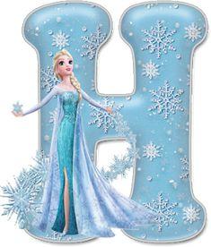 Alfabeto de Elsa con Vestido de Gala. Frozen Birthday Party, Frozen Tea Party, Plastic Canvas Tissue Boxes, Plastic Canvas Patterns, Disney Font Free, Disney Fonts, H Alphabet, Frozen Font, Scrapbook Letters