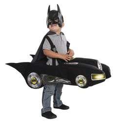 Toddler Batman Batmobile Costume - Your little one will have lots of fun this Halloween with double duty as the Batmobile and Batman with this fantastically fun Batmobile costume! Officially licensed from DC Comics. It comes with a great car with adjustable straps, mask and cape. YWear on its own or with a full Batman costume. This Batmobile costume is perfect for saving Gotham City, Halloween and excellent for dress up time. #YYC #Calgary #costume #Batman #Batmobile #GothamCity