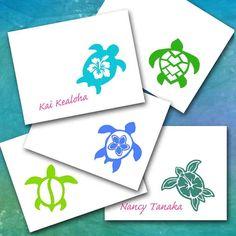 Hawaiian Sea Turtle Note Cards Five Designs by sferradesigns