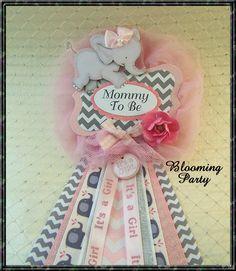 Mamá elefante rosa que ramillete elefante bebé por BloomingParty