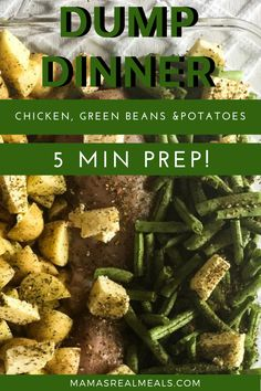 A quick and easy dinner with chicken potatoes and green beans all cooked in the oven in a baking dish smoothered in butter and italian seasoning. A family friendly quick weeknight dinner! Dump Dinners, Easy Dinners, Easy Dinner Recipes, Easy Recipes, Dinner Ideas, Chicken Green Beans Potatoes, Chicken Potato Bake, Italian Seasoning, Chicken Seasoning