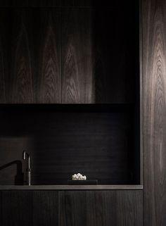 Contemporary Dark Wood Kitchen by Norm Architects Contemporary Interior Design, Interior Design Living Room, Interior Decorating, Interior Modern, Modern Contemporary, Modern Design, Dark Wood Kitchens, Dark Interiors, Scandinavian Interiors