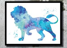 I need to get something like these for the kids rooms!  Blue Lion Watercolor Art Print