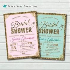 Elegant Bridal Shower Invitation. Printable glitter gold, pink ...