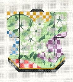 Lee Petite Kimono White Blossoms Handpainted Needlepoint Canvas Ornament