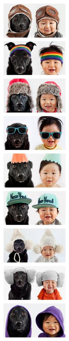 Mother's Adorable Portraits of Baby and Rescue Dog