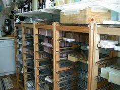 Awesome handmade soap curing rack, by Sun Fortune Soapworks.  Looks like it just uses cake racks as the shelving, which are easily removable. :)