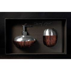 GLAMOUR Set Marrone/NeroGLAMOUR Set composto da dispenser e bicchiere in Alumix®, colore marrone/nero. Il set è venduto in una confezione regalo.