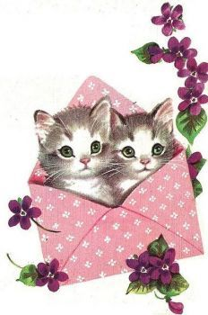 A sweetly beautiful vintage birthday card starring two cute green-eyed kitty cats. Happy Birthday Vintage, Happy Birthday Cards, Birthday Greeting Cards, Birthday Greetings, Birthday Wishes, Vintage Greeting Cards, Vintage Postcards, Art Carte, Art Vintage