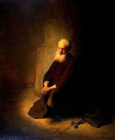 St. Peter in Prison (The Apostle Peter Kneeling) 1631 by Rembrandt Harmensz van Rijn at The Israel Museum, Jerusalem