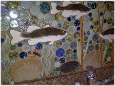 freshwater fish bass in reeds mosaic ceramic tile kitchen back splash