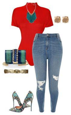 >>  curvy woman denim stylish