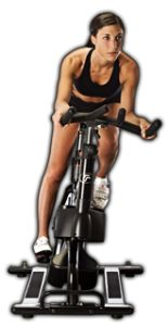 """RealRyder's """"unstationary"""" stationary bike allows indoor cycling students to lean and steer for a whole-body workout and a higher calorie burn."""