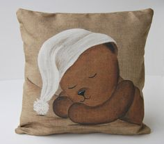 """Items similar to Cushion cover shabby chic """"Teddy bear sleeper"""" children room, baby gift, nursery art, French decor from Paris, made in french on Etsy"""