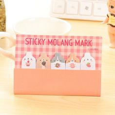 2 Packs Cute Kawaii Molang Rabbit Finger Memo Pads Sticky Notes Bookmark Stickers Marker of Page Stationery School Office Supply #Affiliate