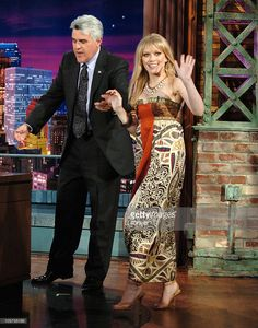Jay Leno and Hilary Duff during Hilary Duff Visits 'The Tonight Show with Jay Leno' - June 13, 2005 at NBC Studios in Burbank, California, United States.