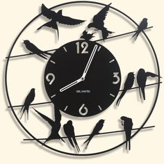 "Metal Wall clock BIRDY - 40 cm / 16"" - Laser cutting design - © Tolonensis Creation - This clock is an original creation designed by french creator Jacques Lahitte. Shipping within EU countries, USA, Canada, Japan, Australia... Contact us for other destinations."
