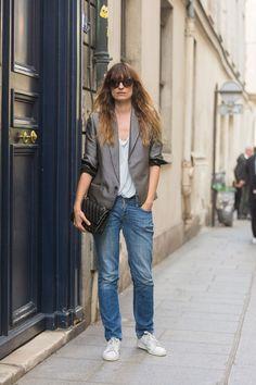 Caroline De Maigret chic in slouchy denim and an oversized blazer. Paris