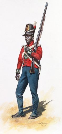 War of 1812: Soldier of the 5th West India Regiment , one of two British Colonial units to participate in the New Orleans Campaign of 1815.