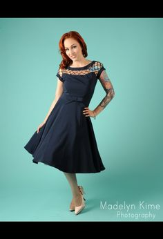 Pin Up Girl Clothing Alika Dress In Navy $140.00 - I love the detail on this dress.