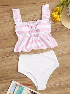 Striped Drawstring Peplum Top With High Waist Tankini Set Full Piece Swimsuits, Cute Swimsuits, Cute Bikinis, Women Swimsuits, Bikini Dress, Bandeau Swimsuit, Girls Bathing Suits, Stripes Fashion, Beachwear For Women