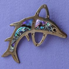 Vintage ALPACA Mexican Silver ABALONE Shell DOLPHIN Brooch