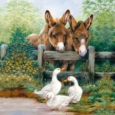 Single Table Party Paper Napkins for Decoupage Decopatch Meeting Friends Farm Animals, Animals And Pets, Cute Animals, Animal Paintings, Animal Drawings, Image Chat, Paper Napkins For Decoupage, Multimedia Artist, Country Art