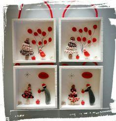Christmas Pebble Art, Christmas Rock, Christmas Projects, Christmas Themes, Christmas Decorations, Xmas, Christmas Ornaments, Holiday Decor, Christmas Trimmings