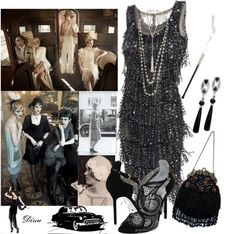 """Roaring 20's"" by dina-maldaner ❤ liked on Polyvore. Great costume inspiration."