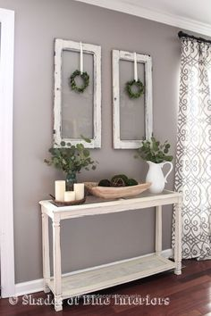 Cool Living Room decor – rustic farmhouse style with painted white console table, old window frames and simple greenery. The post Living Room decor – rustic farmhouse style wit ..