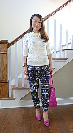 popcorn + hidden floral (#bananarepublic sweater #jcrew pants #guess heels #brahmin tote #anntaylor cuff #loveobsessed necklace)