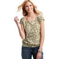Animal Print Cotton Back Zip Tee - An exposed back zipper (with an adorable grosgrain pull) adds an edgy surprise to this fun animal print tee. Scoop neck. Cap sleeves. Shirred beneath front yoke. Banded hem with gathered details.