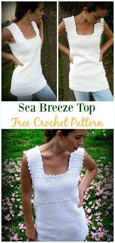 Crochet Sea Breeze Top Free Pattern -#Crochet Summer #Top Free Patterns