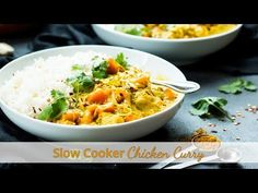 Slow Cooker Chicken Curry that is made with coconut milk and sweet potatoes!! It is gluten free and makes a delicious lunch or dinner when served with rice.