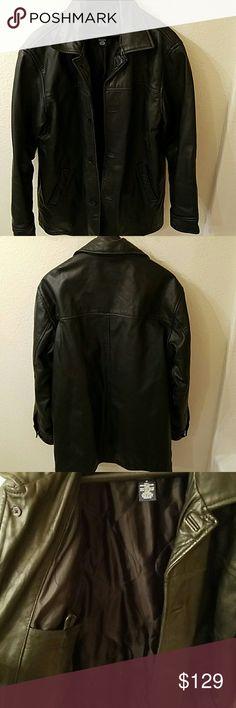 GAP mens black leather coat GAP mens medium black leather button down coat GAP Jackets & Coats