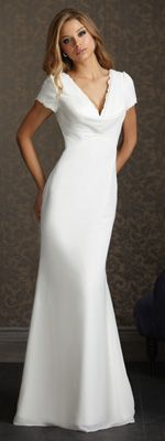 2012 Exclusive Bridal by Allure - White Chiffon Scoop Neck Cap Sleeve Wedding Dress - 2 - 32