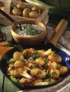 Speck-Kartoffeln mit Quark-Dip